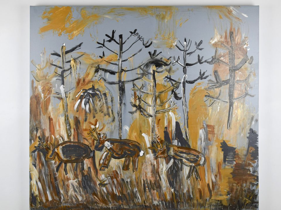 A painting by Gwyn Howell of Caribou.